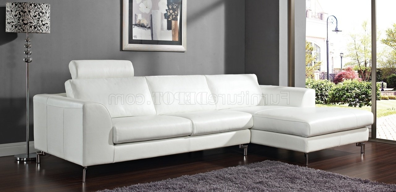Best And Newest White Sectional Sofas With Chaise Intended For Angela Sectional Sofa In White Leatherwhiteline (View 8 of 15)