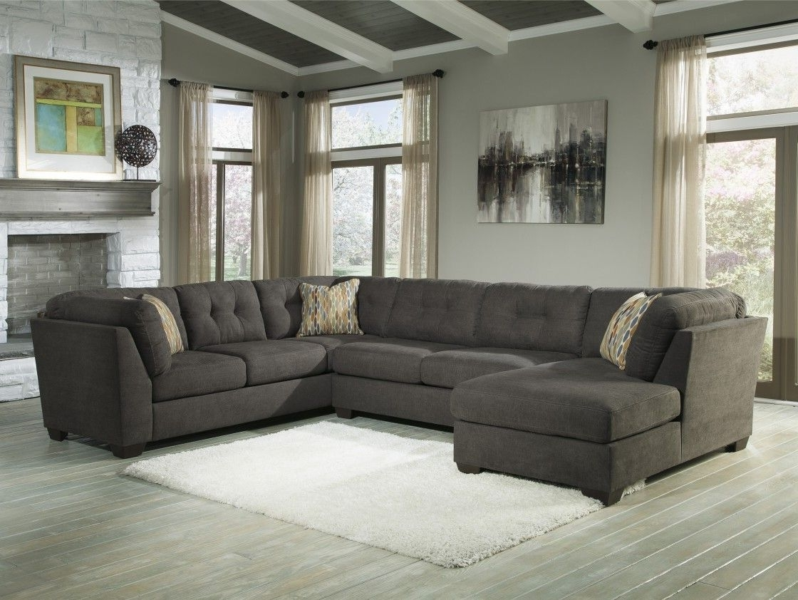 Best Quality Dark Grey Fabric Upholstery U Shaped Sectional Sofa With Latest Ivan Smith Sectional Sofas (View 15 of 15)