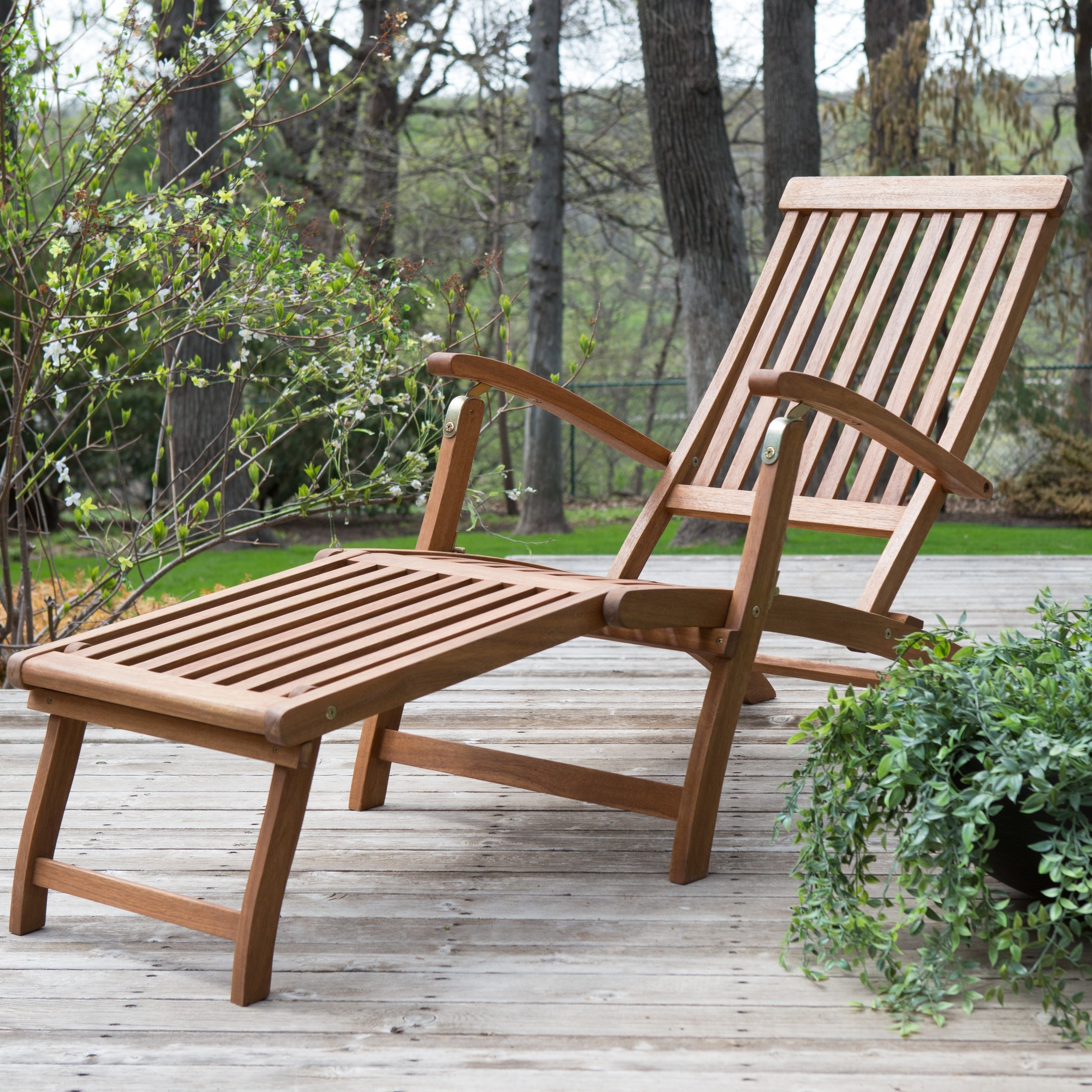 Best Selling Home Decor Molokini Wood Outdoor Chaise Lounge—Set Of Inside Latest Wooden Chaise Lounges (View 4 of 15)