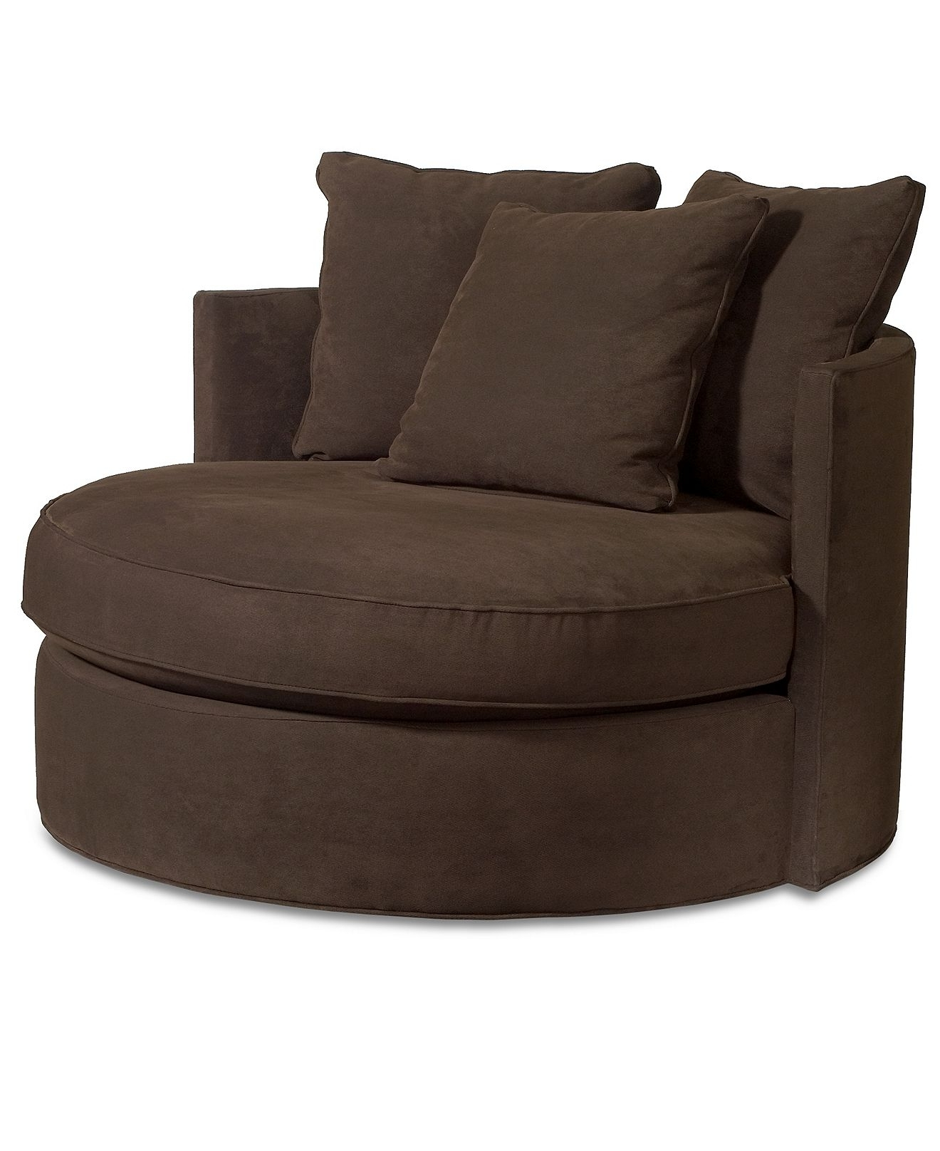 "Big Round Sofa Chairs In Most Recent Doss Godiva Fabric Microfiber Living Room Chair, Round Swivel 50""w (View 2 of 15)"