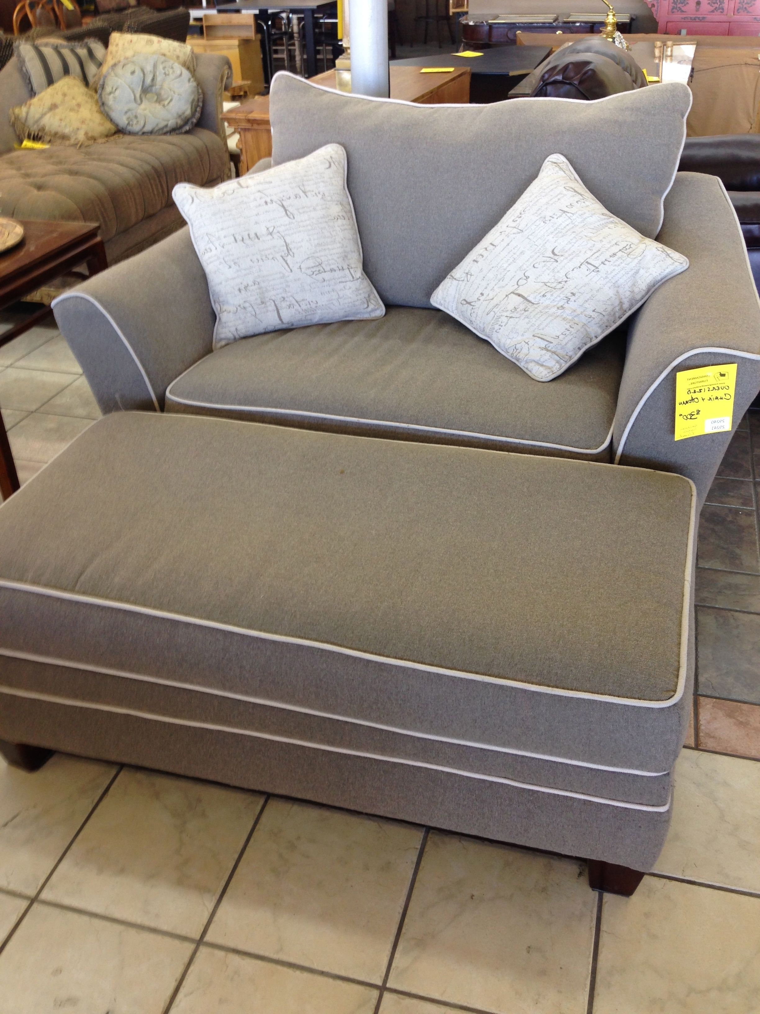 Big Sofa Chairs In Most Current Stylish Grey Fabric Oversized Chairs With Rectangle Ottoman In (View 3 of 15)
