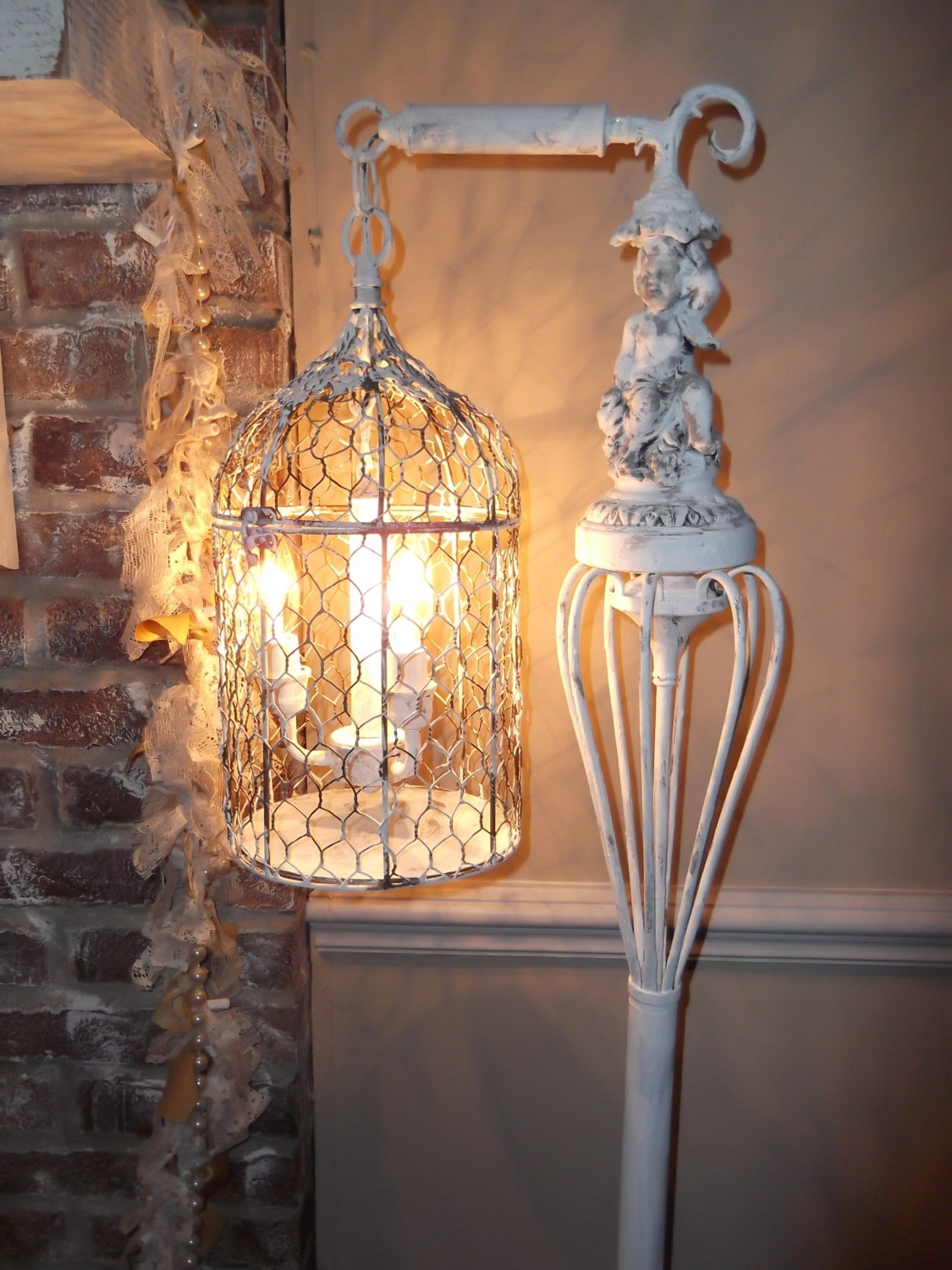 Bird Cage Chandelier Floor Lamp ,vintage Chandelier Bird Cage Light Throughout Well Known Country Chic Chandelier (View 2 of 15)