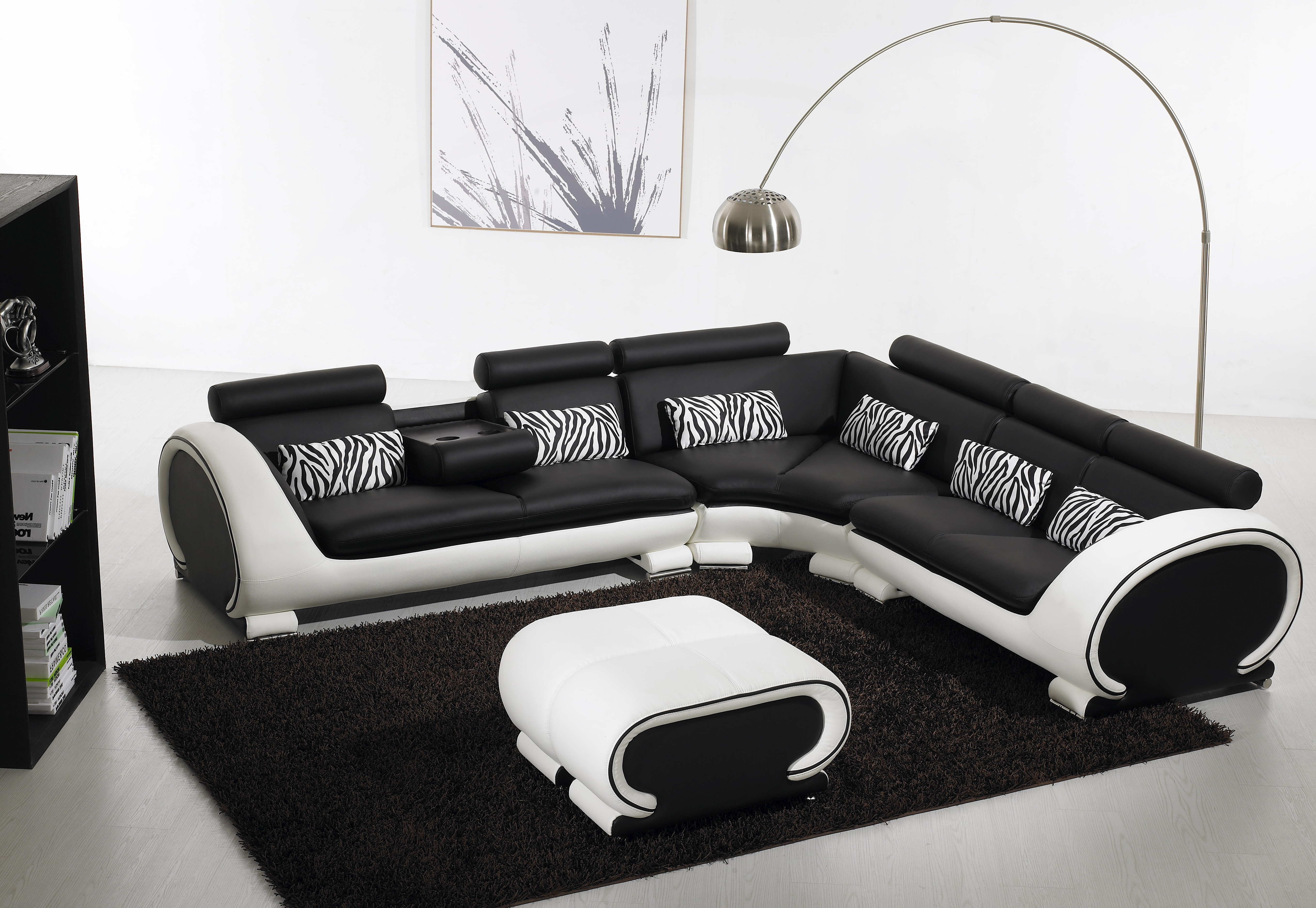 Black And White Sofas Regarding 2018 Blossom Corner Black And White Leather Sofa Suite (View 3 of 15)