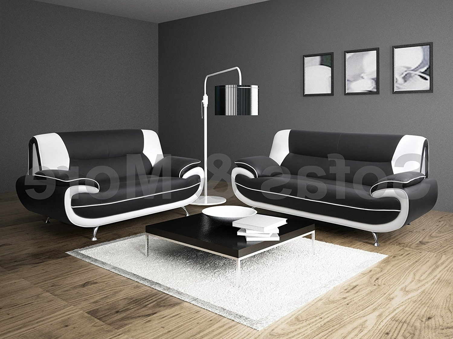 Black And White Sofas regarding Newest Lewis Black & White Pu Leather 3+2 Seater Sofa Suite: Amazon.co.uk