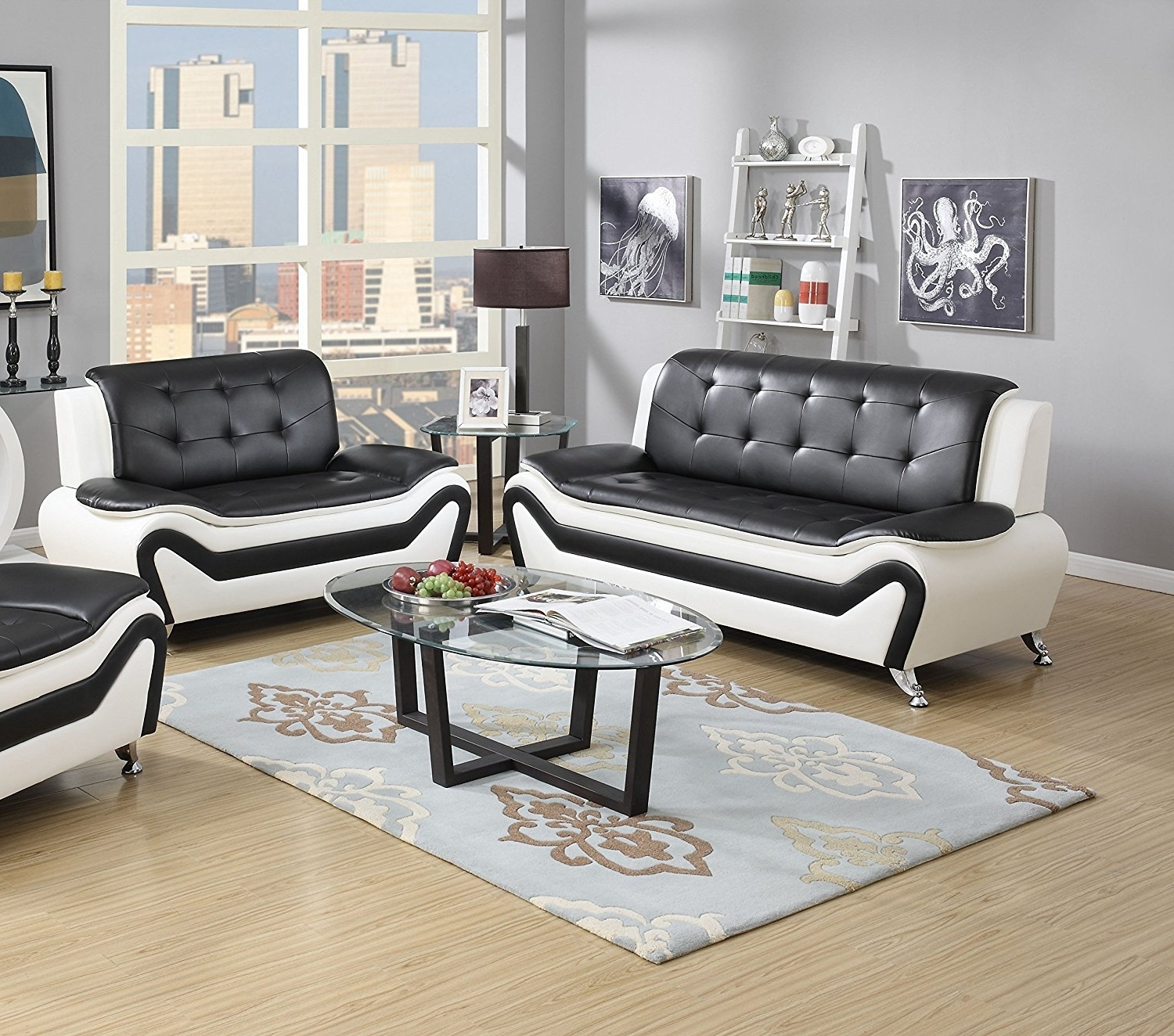 Black And White Sofas With Well Known Amazon: Us Pride Furniture 2 Piece Modern Bonded Leather Sofa (View 10 of 15)