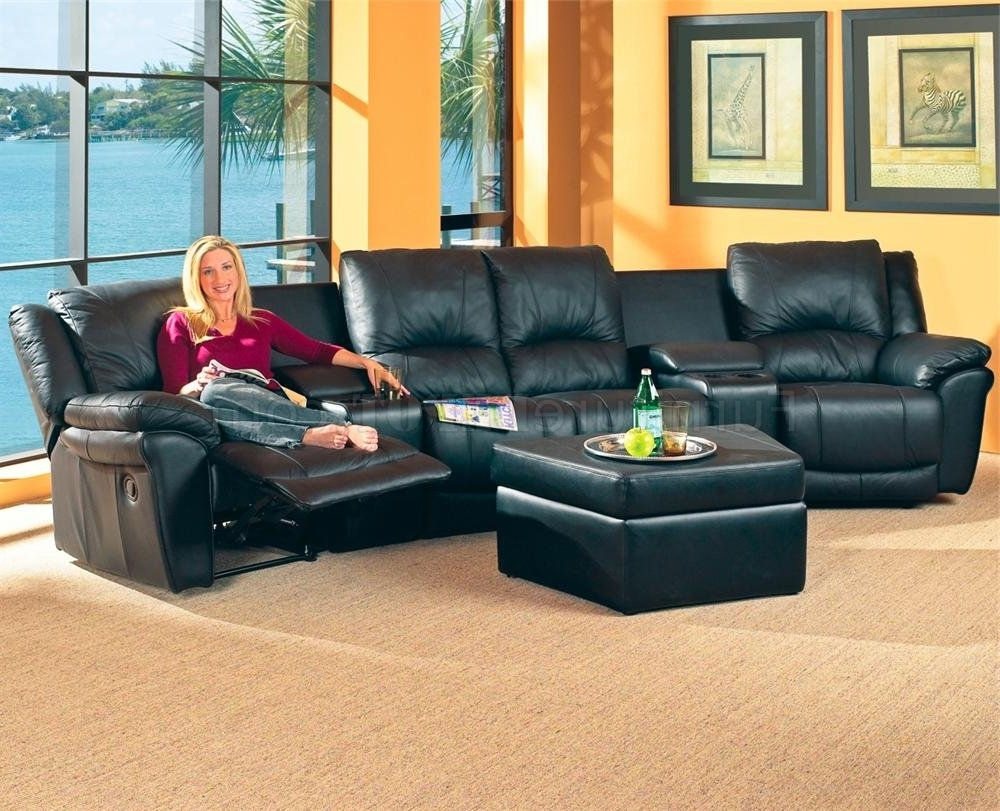 Black Bonded Leather Match Modern Home Theater Sectional Sofa Regarding Recent Theatre Sectional Sofas (View 4 of 15)
