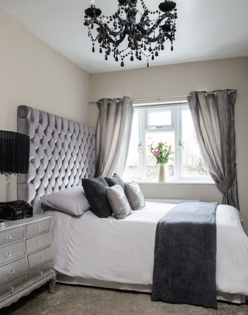Black Chandelier Bedroom Within Preferred Silver High Headboard With Black Crystal Chandelier Lighting For (View 2 of 15)