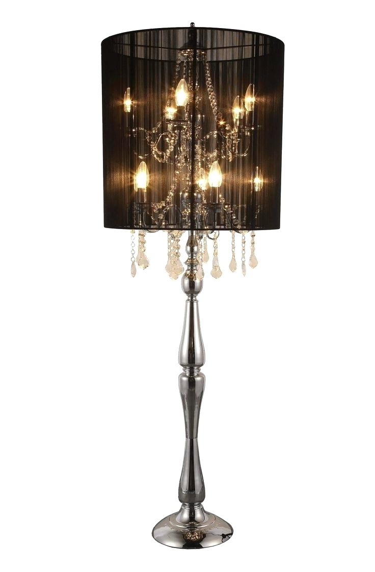 Black Chandelier Standing Lamps Pertaining To Best And Newest Chandeliers ~ Crystal Chandelier Standing Lamps Chandelier Night (View 2 of 15)