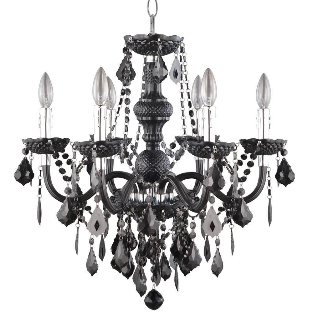 Black Chandelier With Most Recently Released Hampton Bay Maria Theresa 6 Light Chrome And Red Acrylic Chandelier (View 9 of 15)