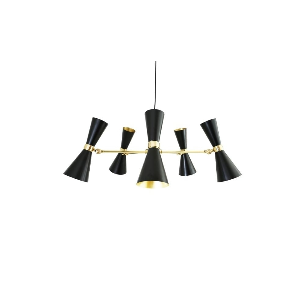 Black Contemporary Chandelier Regarding Current Contemporary Black And Brass 5 Light Chandelier – Great For Hotels (View 2 of 15)