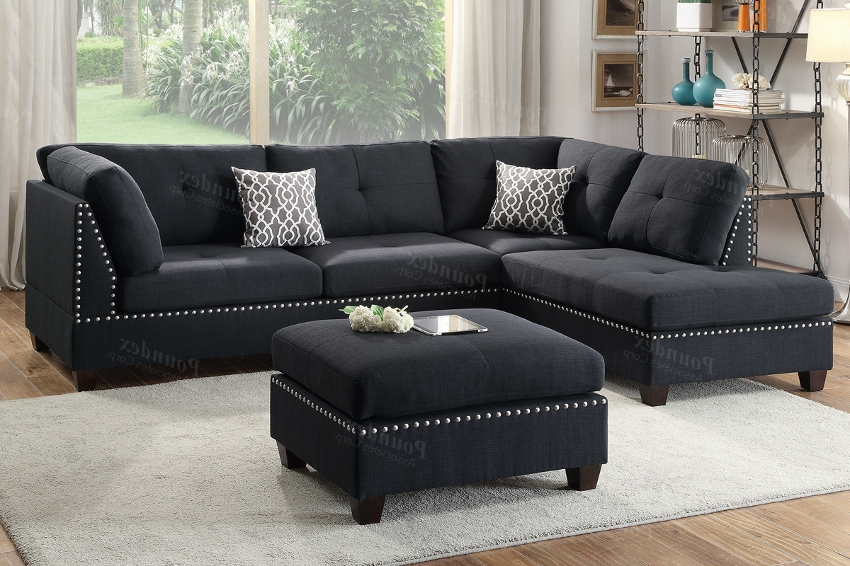 Black Fabric Sectional Sofa And Ottoman – Steal A Sofa Furniture Regarding Widely Used Black Sectional Sofas (View 4 of 15)