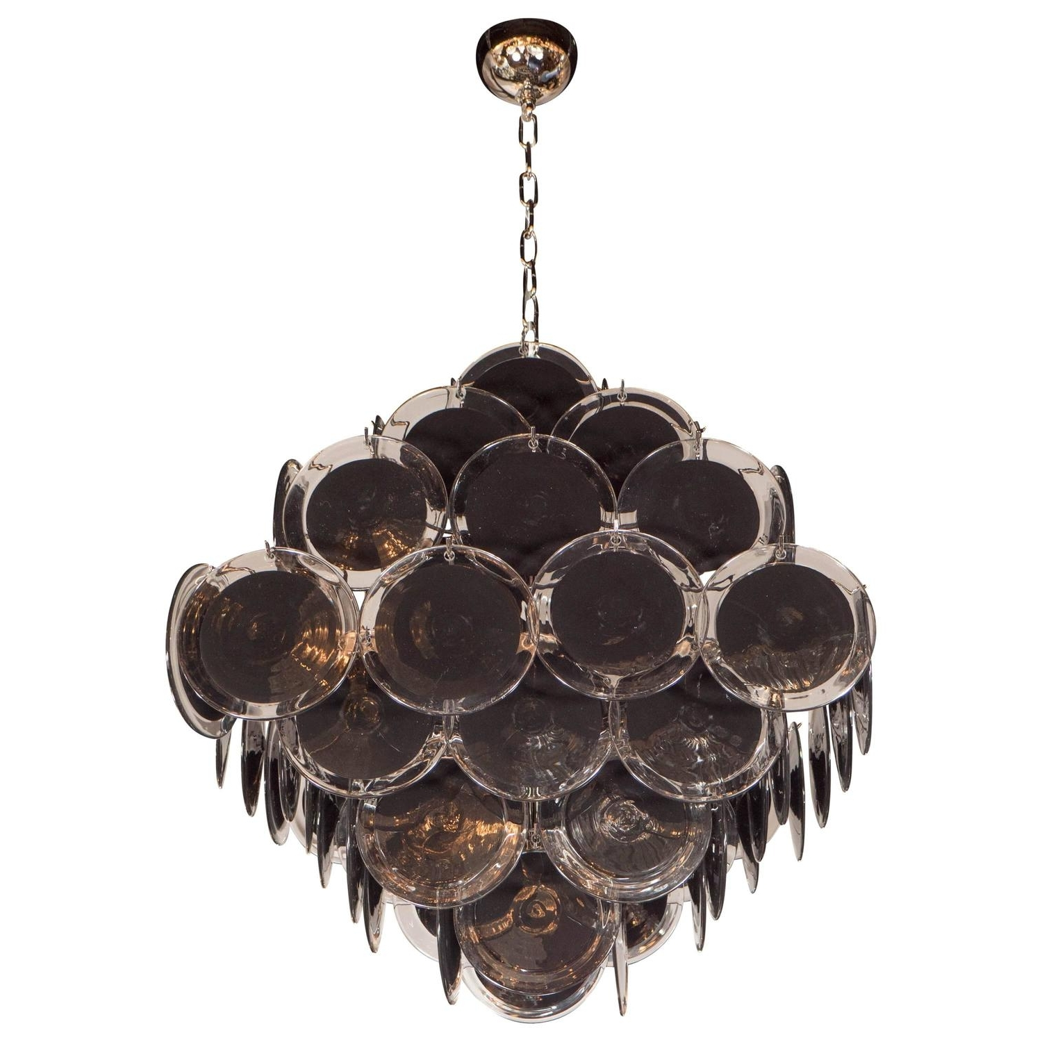 Black Glass Chandelier Throughout Well Known Ultra Chic Modernist Diamond Shaped Black Murano Glass Chandelier (View 3 of 15)