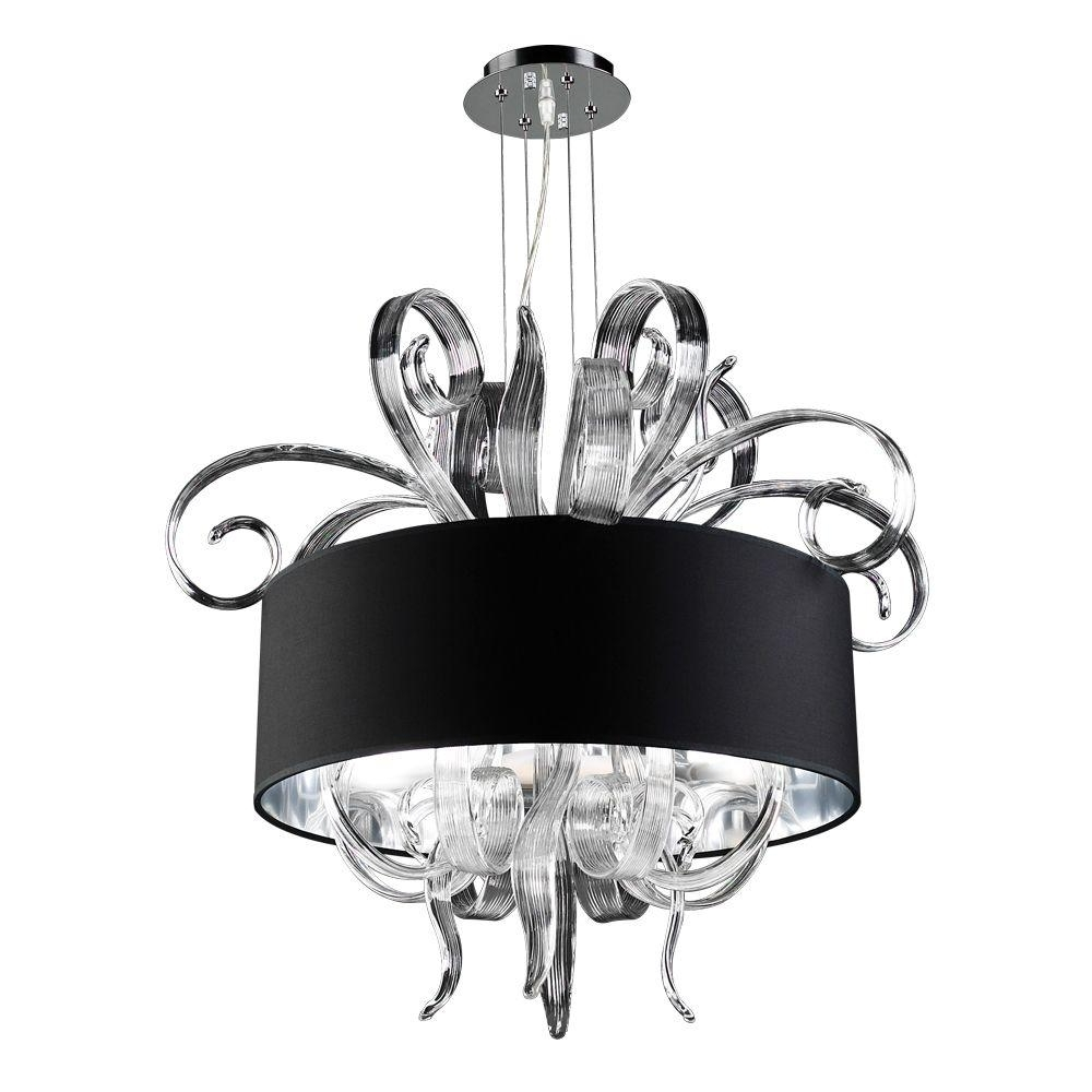 Black Glass Chandeliers Regarding Most Up To Date Plc Lighting 4 Light Polished Chrome Chandelier With Black Fabric (View 14 of 15)