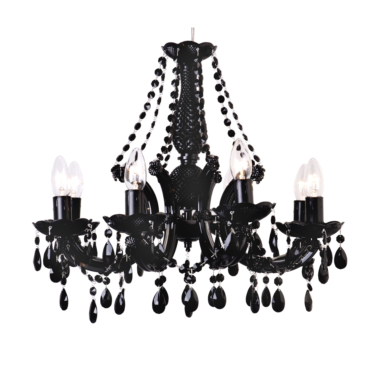 Black Glass Chandeliers Within Best And Newest Black Crystal Lighting (View 15 of 15)