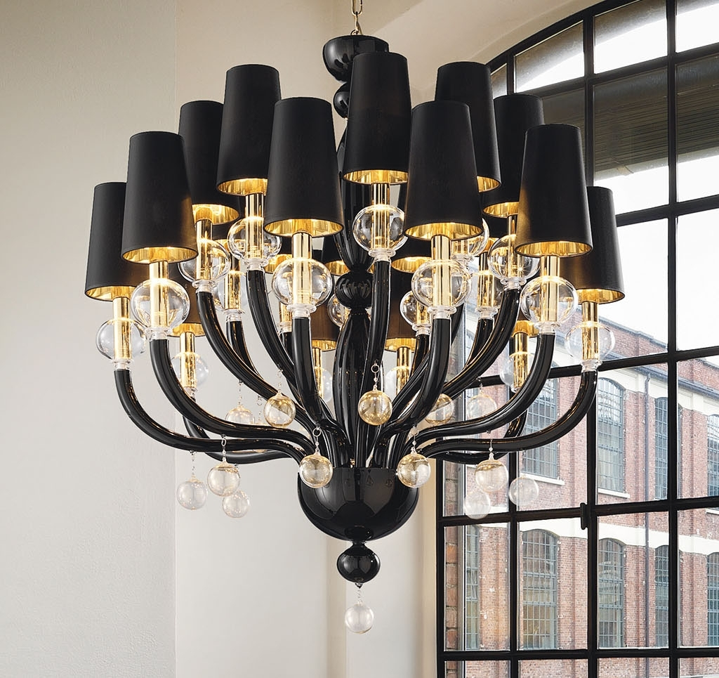 Black Glass Modern Murano Chandelier With Black Lampshades Pertaining To Fashionable Black Chandeliers With Shades (View 1 of 15)