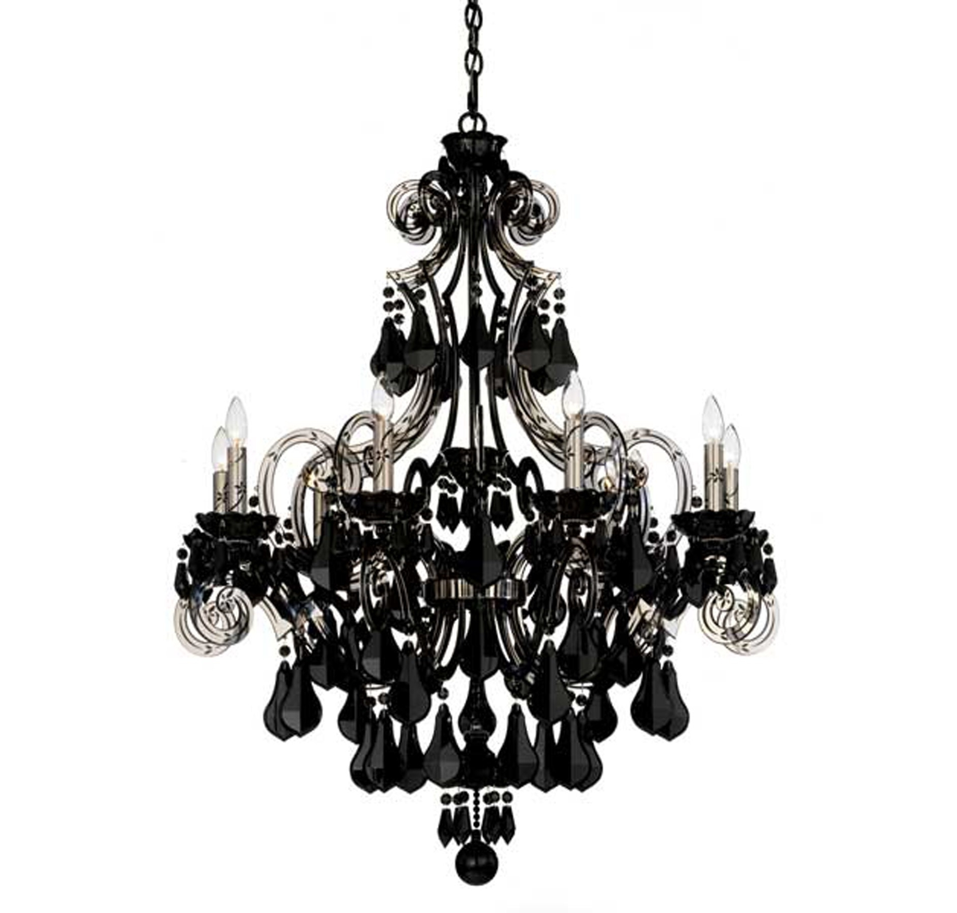 Black Gothic Chandelier Pertaining To Most Up To Date Photos: Schonbek Cappela 9 Light Black Chandelier In Chandeliers (View 8 of 15)