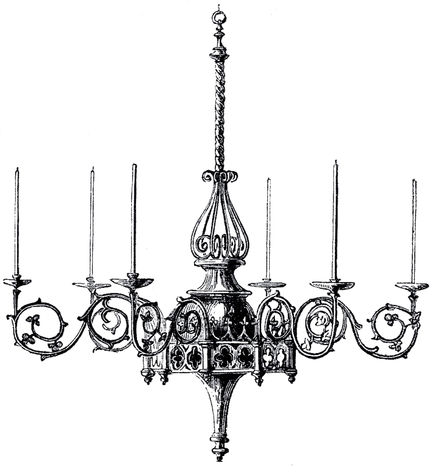Black Gothic Chandelier Throughout Popular Vintage Gothic Chandelier Image – The Graphics Fairy (View 6 of 15)