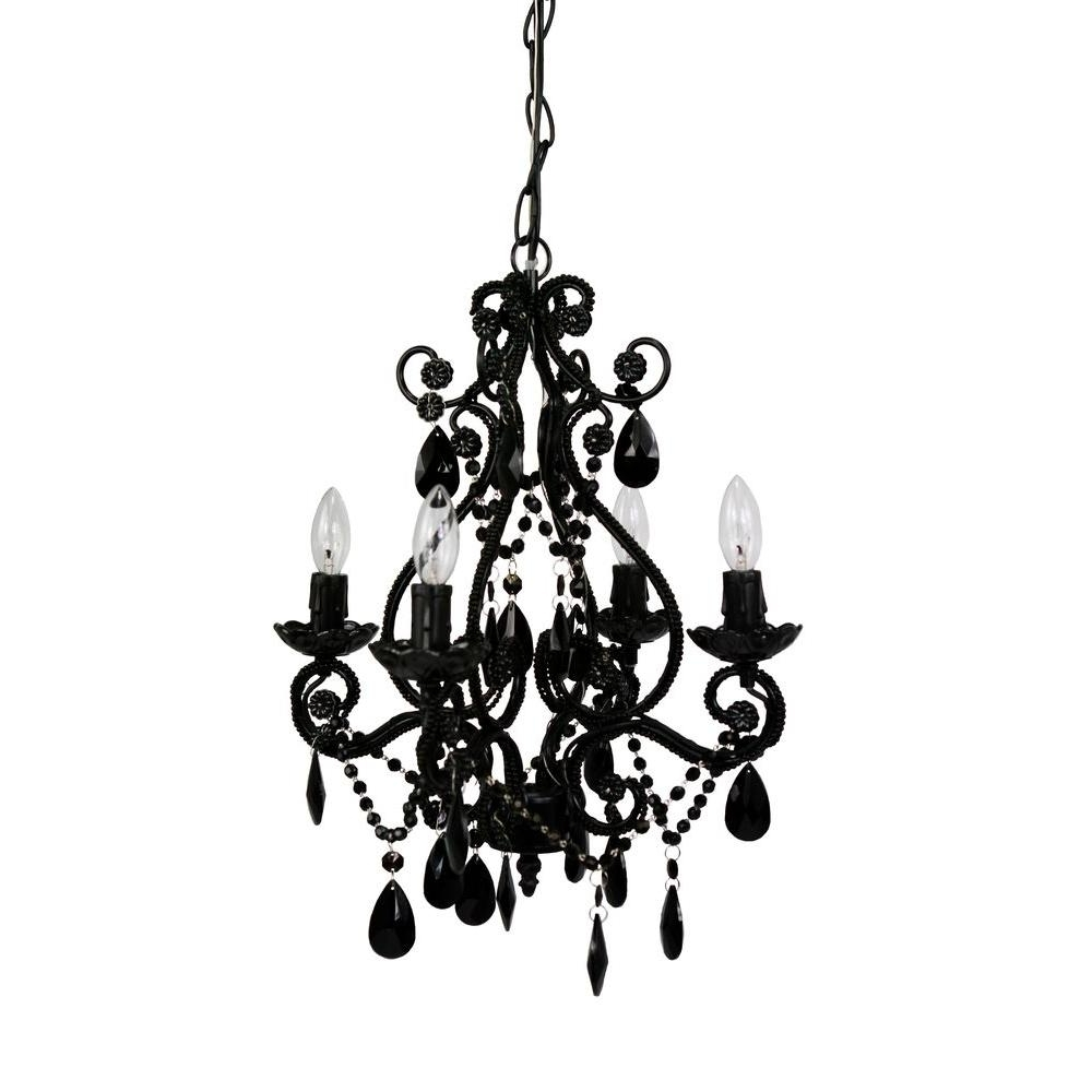 Black Gothic Chandelier Throughout Widely Used Black – Crystal – Chandeliers – Lighting – The Home Depot (View 7 of 15)