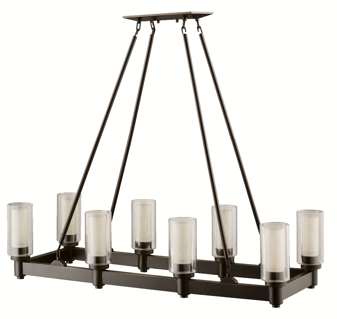 Black Iron Chandeliers For Widely Used Hand Forged Hanging Black Rectangular Iron Chandeliers With 8 Glass (View 10 of 15)
