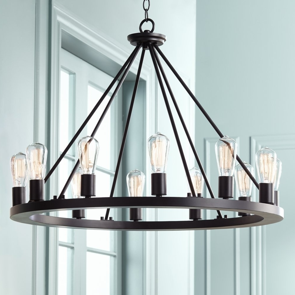 """Black Iron Chandeliers Within Well Known Lacey 28"""" Wide Round Black Chandelier – – Amazon (View 6 of 15)"""