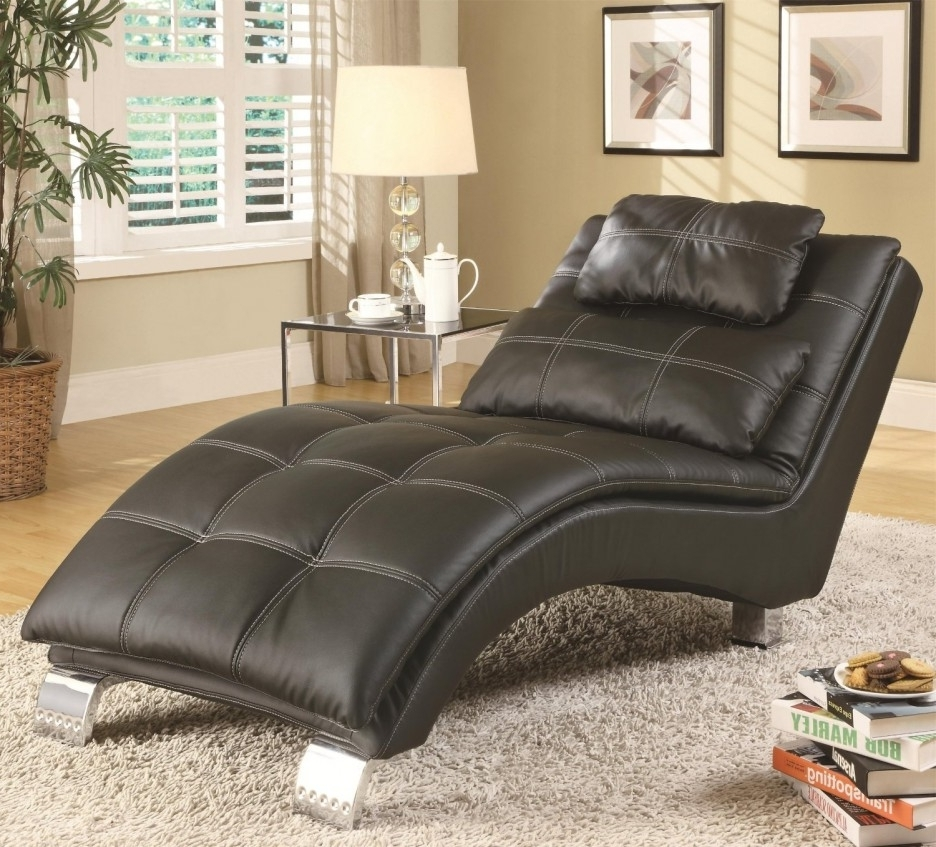 Black Leather Chaise Lounge Chairs Regarding 2017 Living Room : Beautiful Chaise Lounge Indoor Chair With Yellow (View 11 of 15)