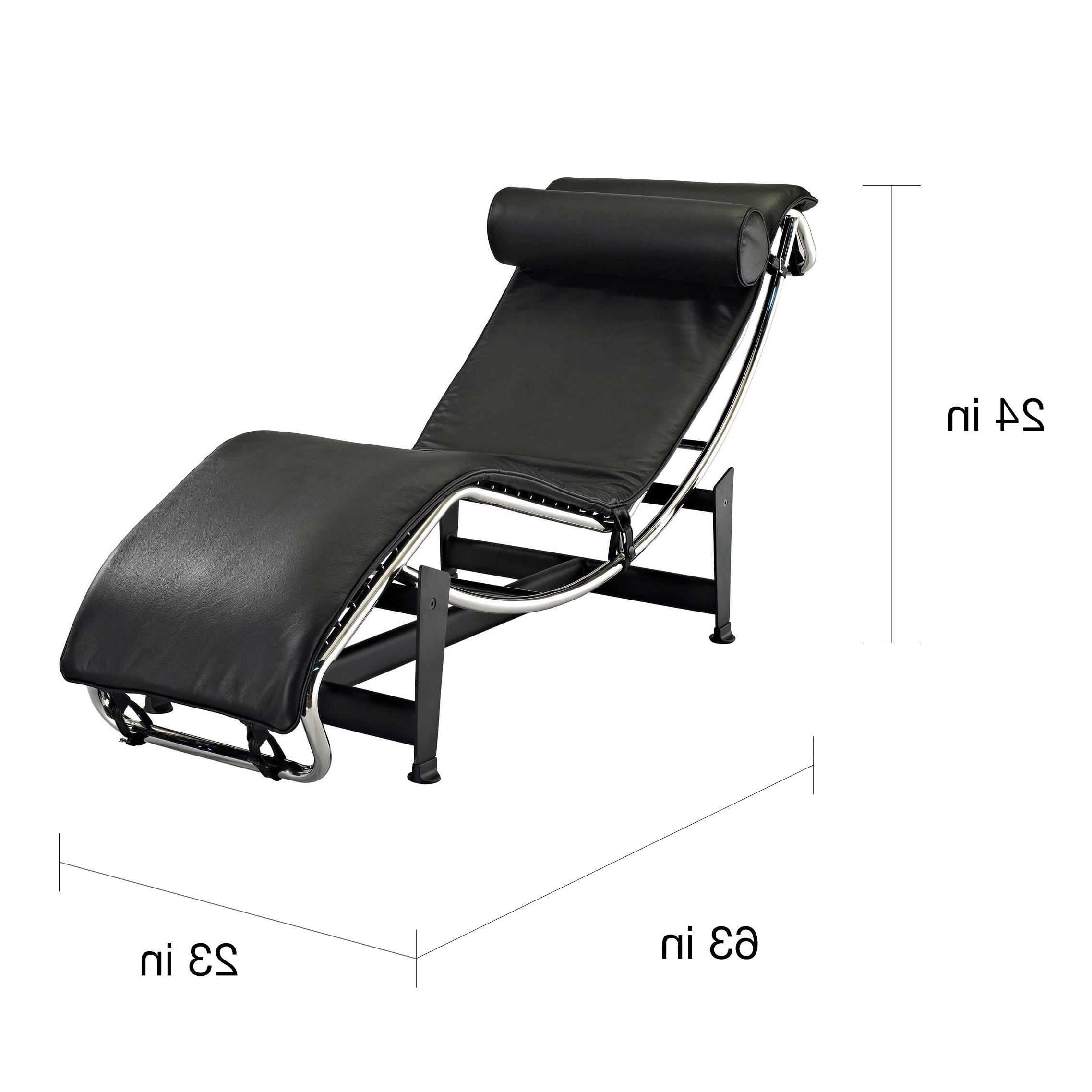 Black Leather Chaise Lounges Throughout Preferred Le Corbusier Style Lc4 Genuine Leather Chaise Lounge – Free (View 11 of 15)