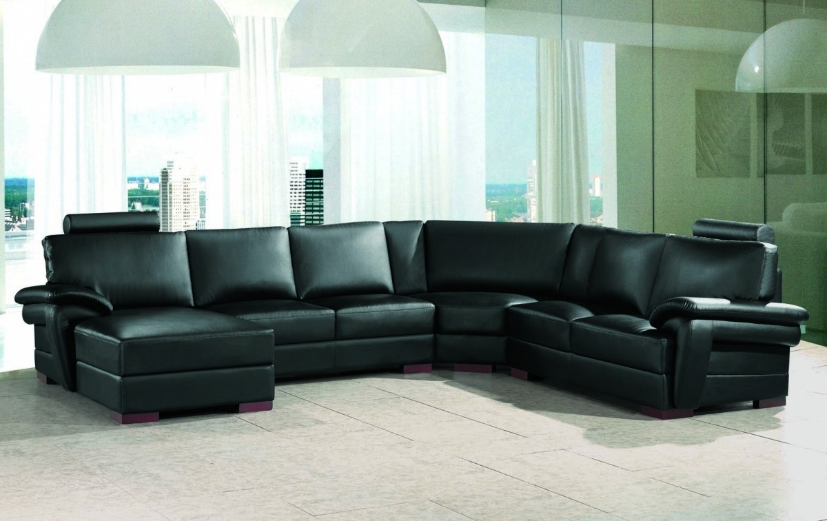 Black Leather Sectionals With Chaise Inside Most Up To Date Black Reclining Sectional Sofa Black Leather Contemporary (View 2 of 15)