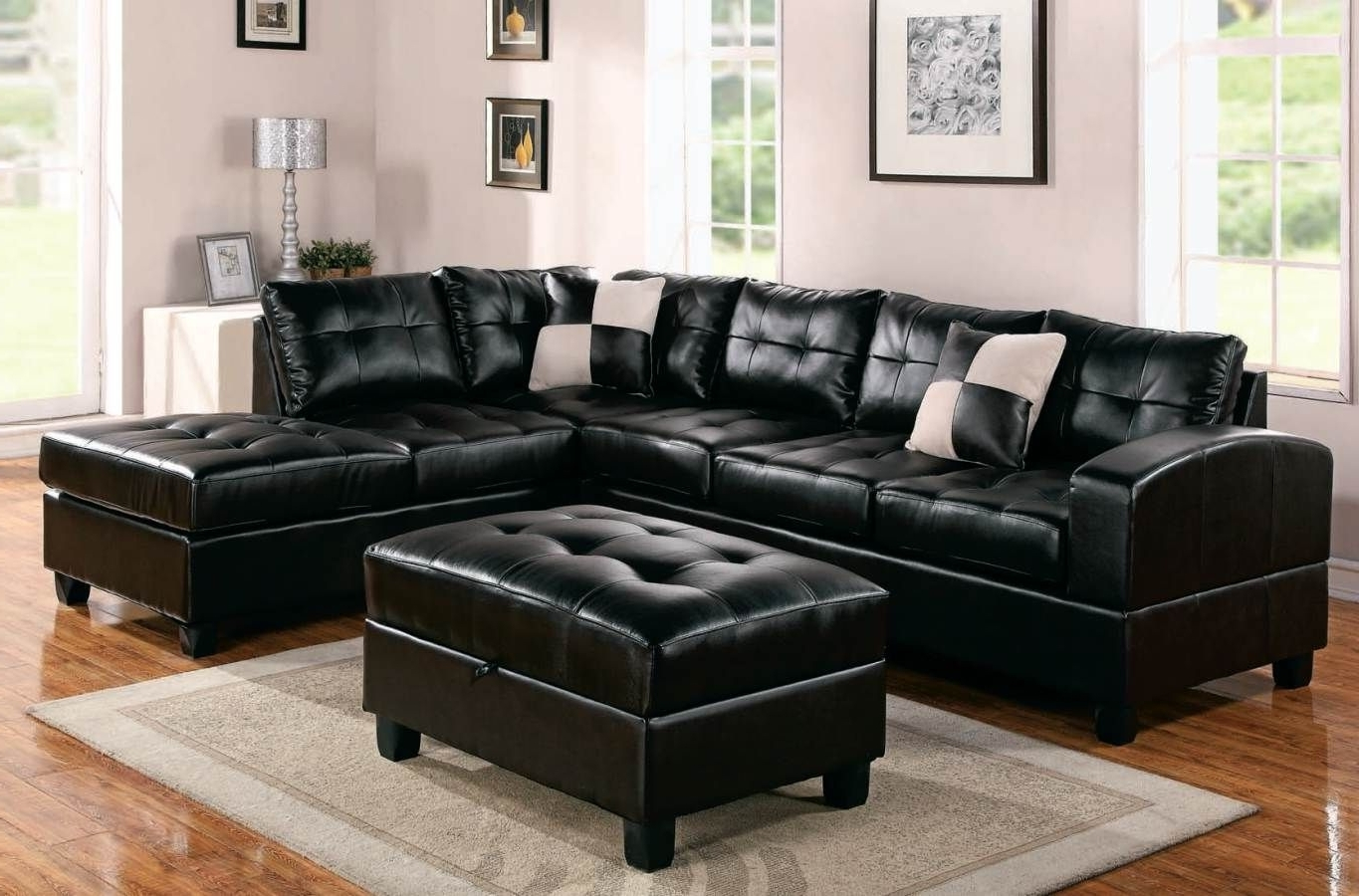 Black Leather Sectionals With Ottoman Inside Fashionable Oversized Black Leather Sectional Sofa With Tables (View 5 of 15)