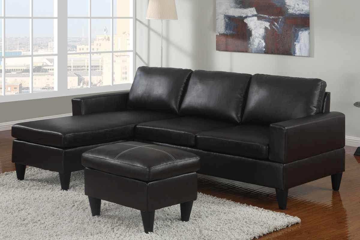 Black Leather Sectionals With Ottoman With 2018 Black Vegan Leather Sectional Sofa & Ottoman Set – Furniture Bureau (View 8 of 15)