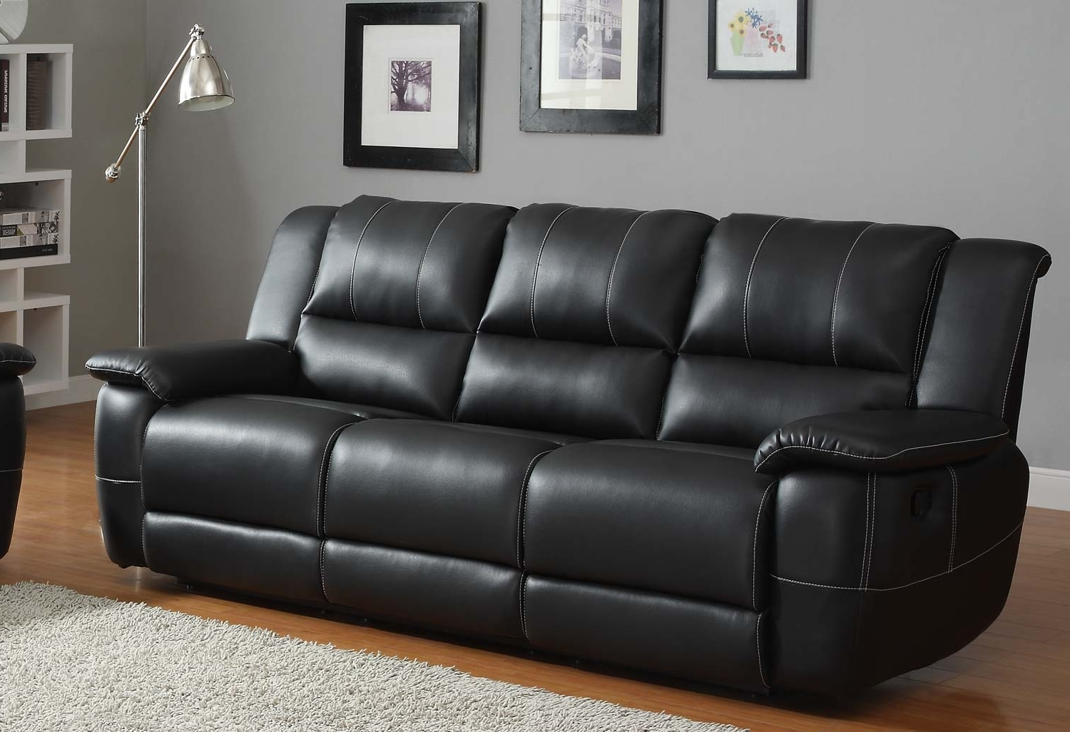 Black Leather Sofa White Leather Contemporary Sectional Sofa With Regard To Well Known Cheap Black Sofas (View 2 of 15)