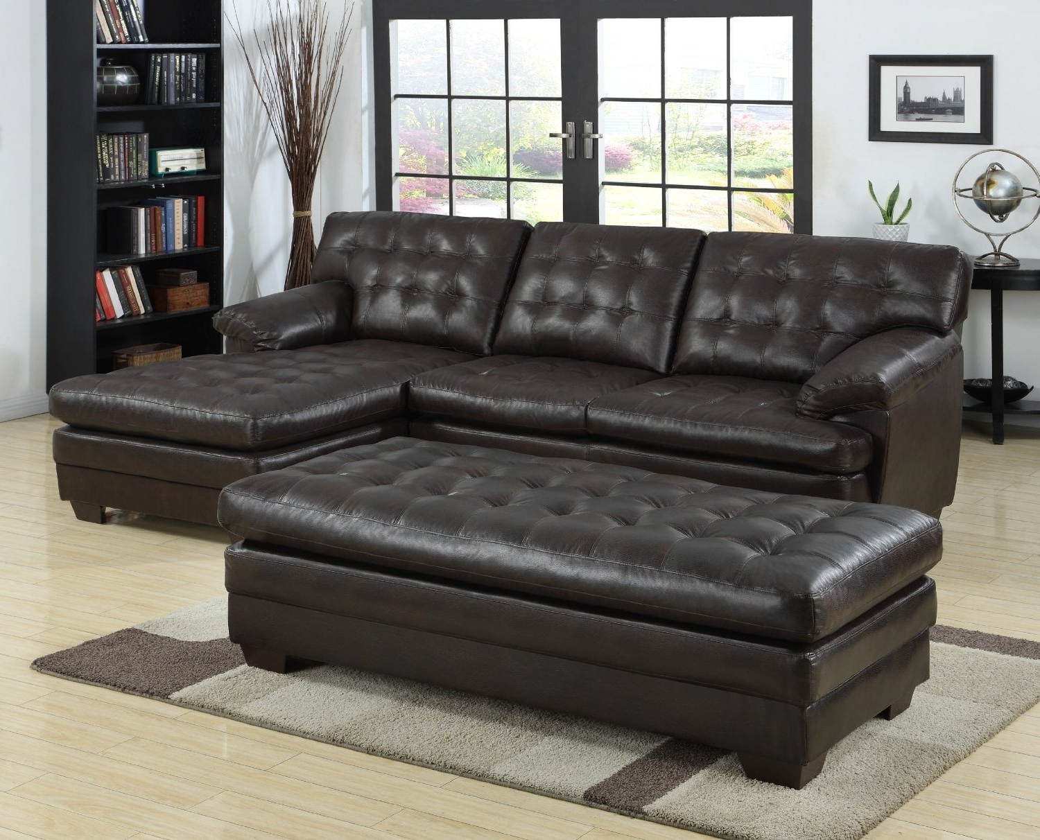 Black Tufted Leather Sectional Sofa With Chaise And Bench Seat Regarding Recent Sofas With Chaise And Ottoman (View 12 of 15)