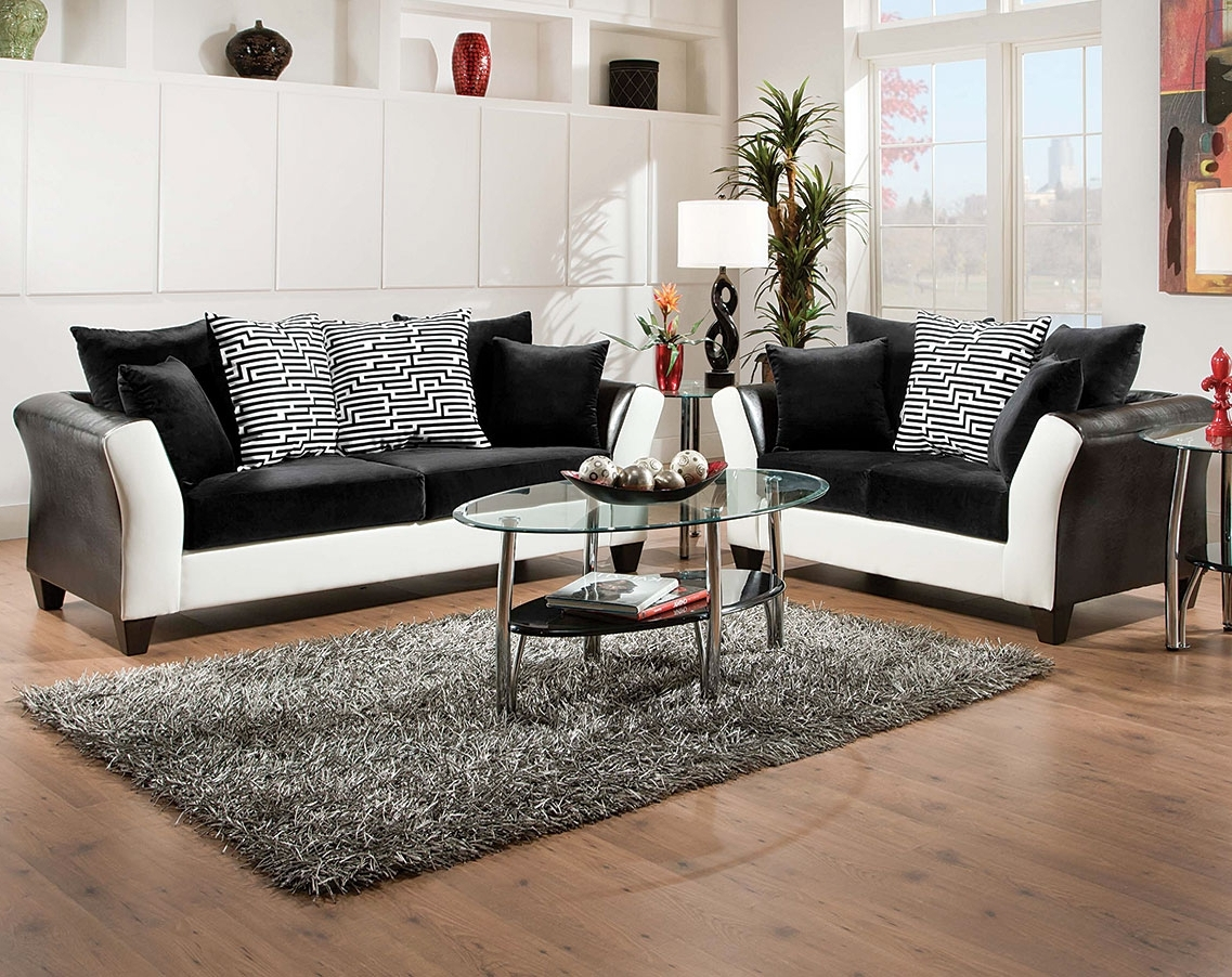 Black, White Couch Set, Patterned Pillows (View 7 of 15)