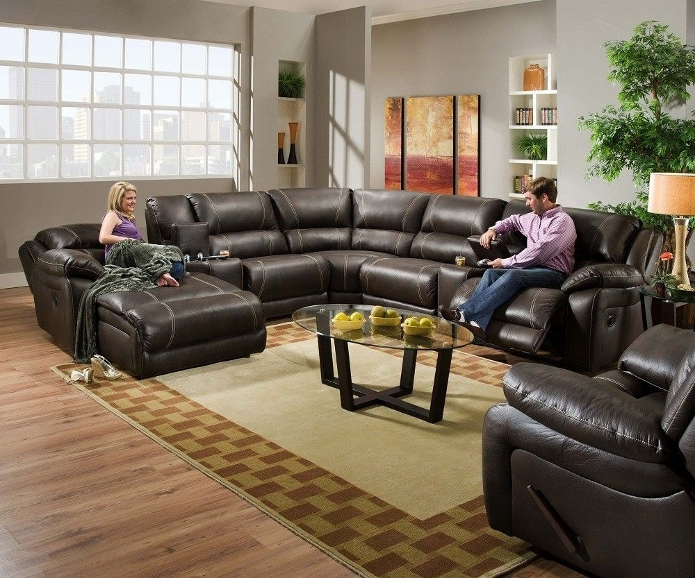 Blackjack Simmons Brown Leather Sectional Sofa Chaise Lounge Intended For Well Known Sectionals With Recliner And Chaise (View 1 of 15)