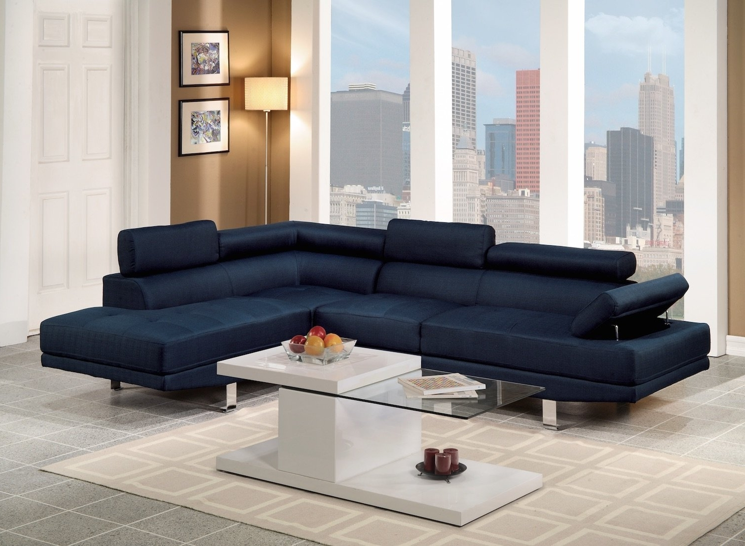 Blue Sectional Sofas Within Fashionable Navy Blue Sectional Sofa (View 7 of 15)