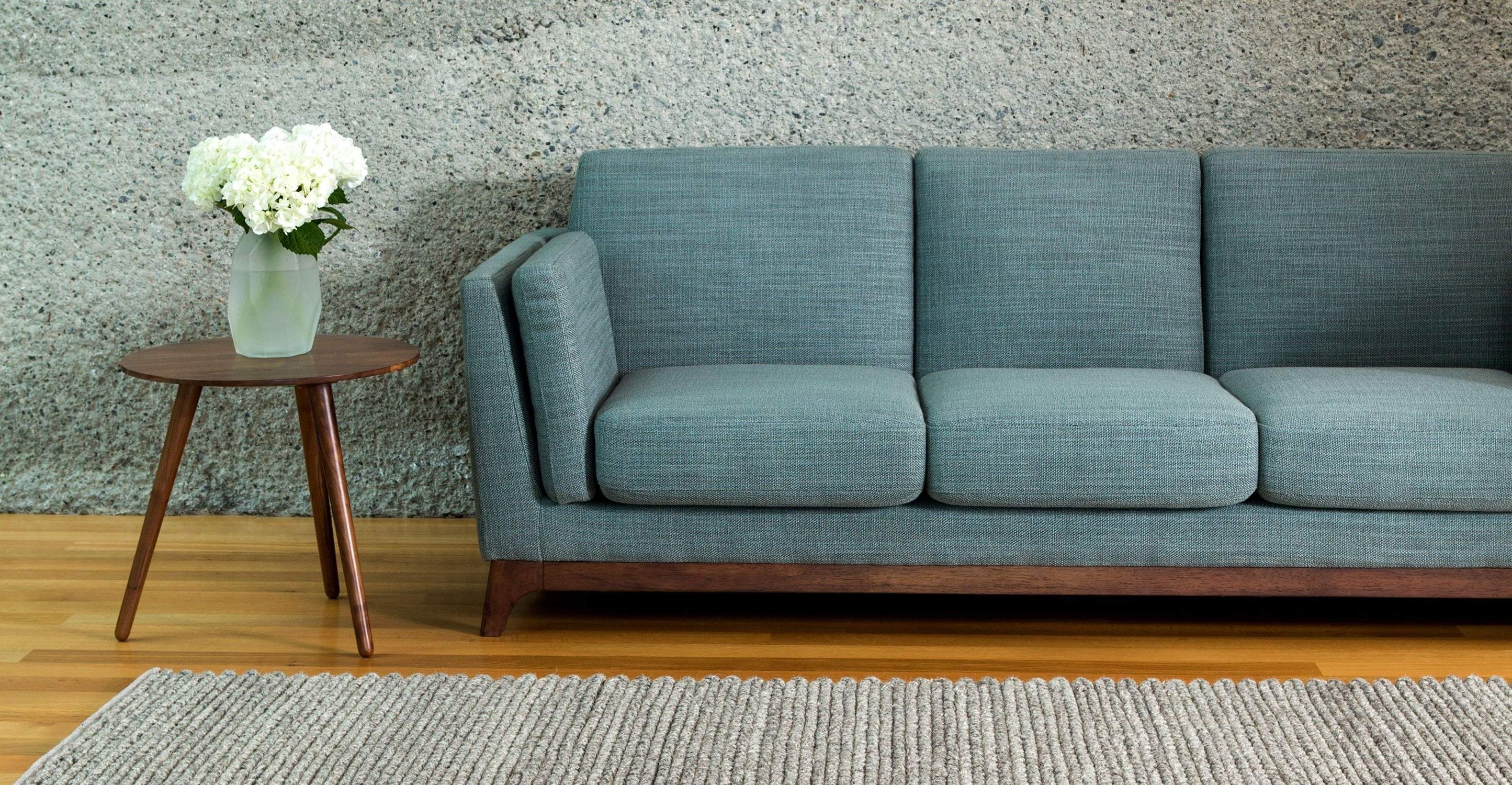Blue Sofa 3 Seater With Solid Wood Legs (View 5 of 15)
