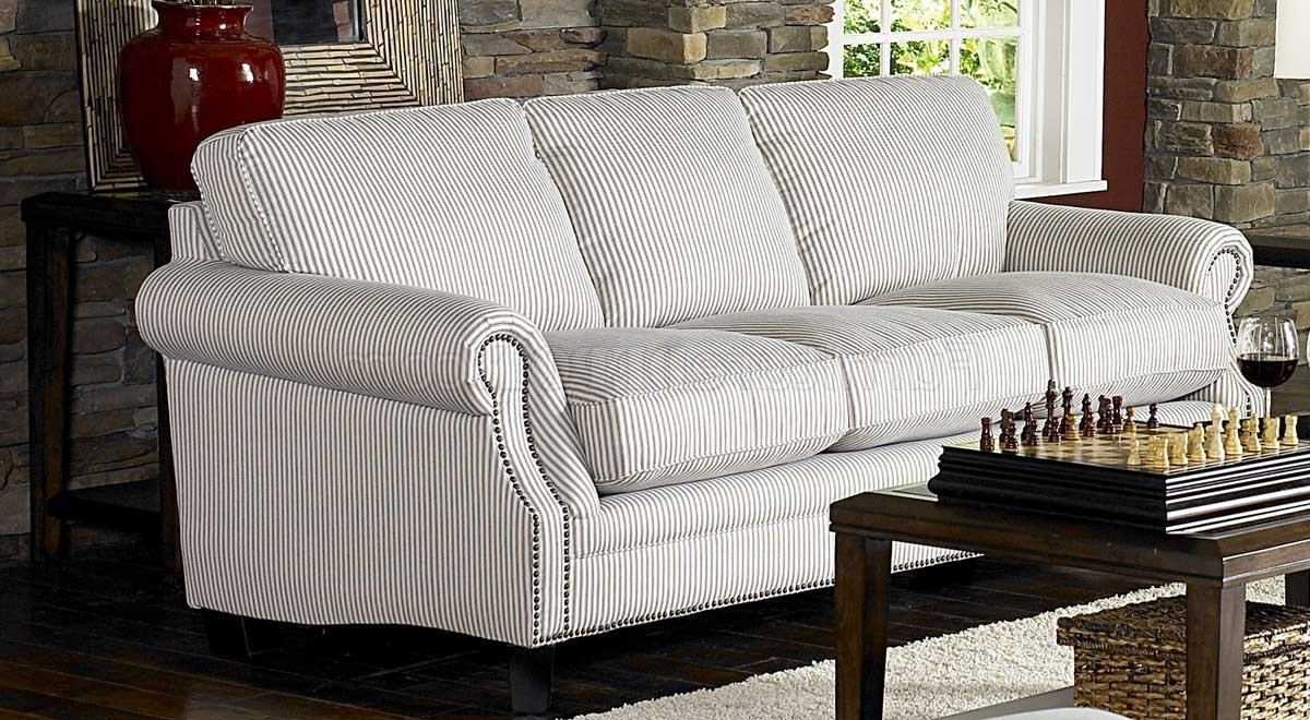 & Blue Striped Fabric Cottage Style Sofa & Loveseat Set Throughout Latest Striped Sofas And Chairs (View 1 of 15)