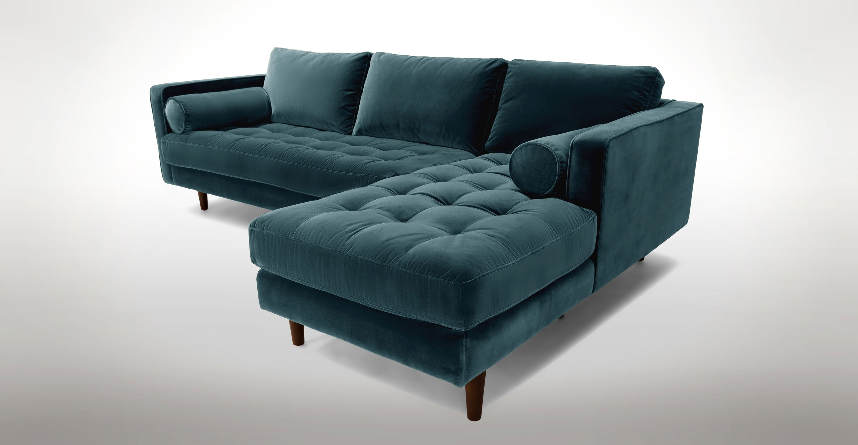 Blue Velvet Left Sectional – Tufted (View 4 of 15)