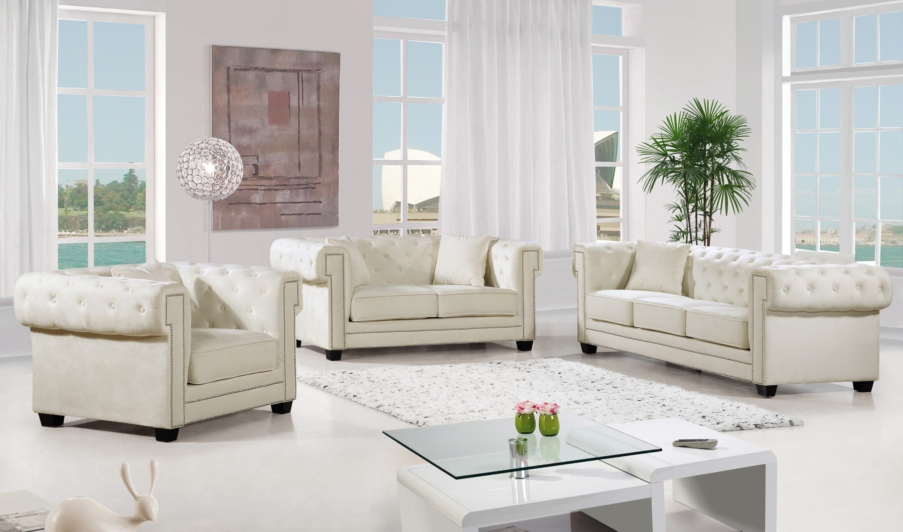 Bowery Cream Sofa 614 Meridian Furniture Fabric Sofas At Comfyco Within Well Liked Fabric Sofas (View 14 of 15)
