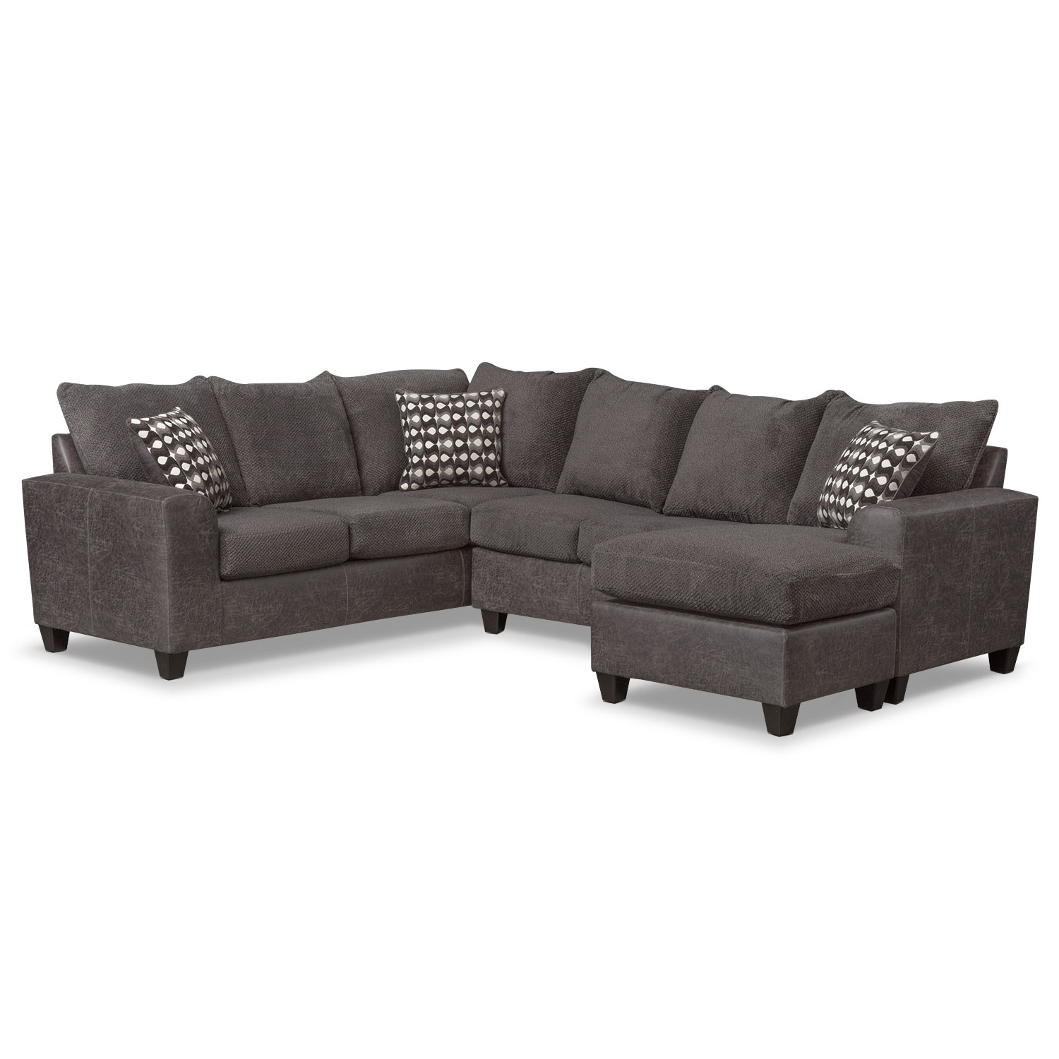 Brando 3 Piece Sectional With Chaise And Swivel Chair Set – Smoke With Famous Value City Sectional Sofas (View 2 of 15)