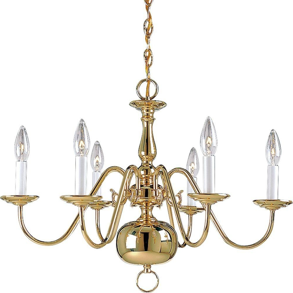 Brass Chandeliers Intended For Famous Progress Lighting Americana Collection 6 Light Brushed Nickel (View 2 of 15)
