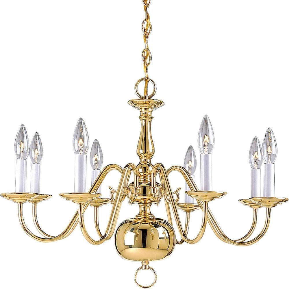 Brass – Chandeliers – Lighting – The Home Depot Pertaining To Well Known Brass Chandeliers (View 9 of 15)