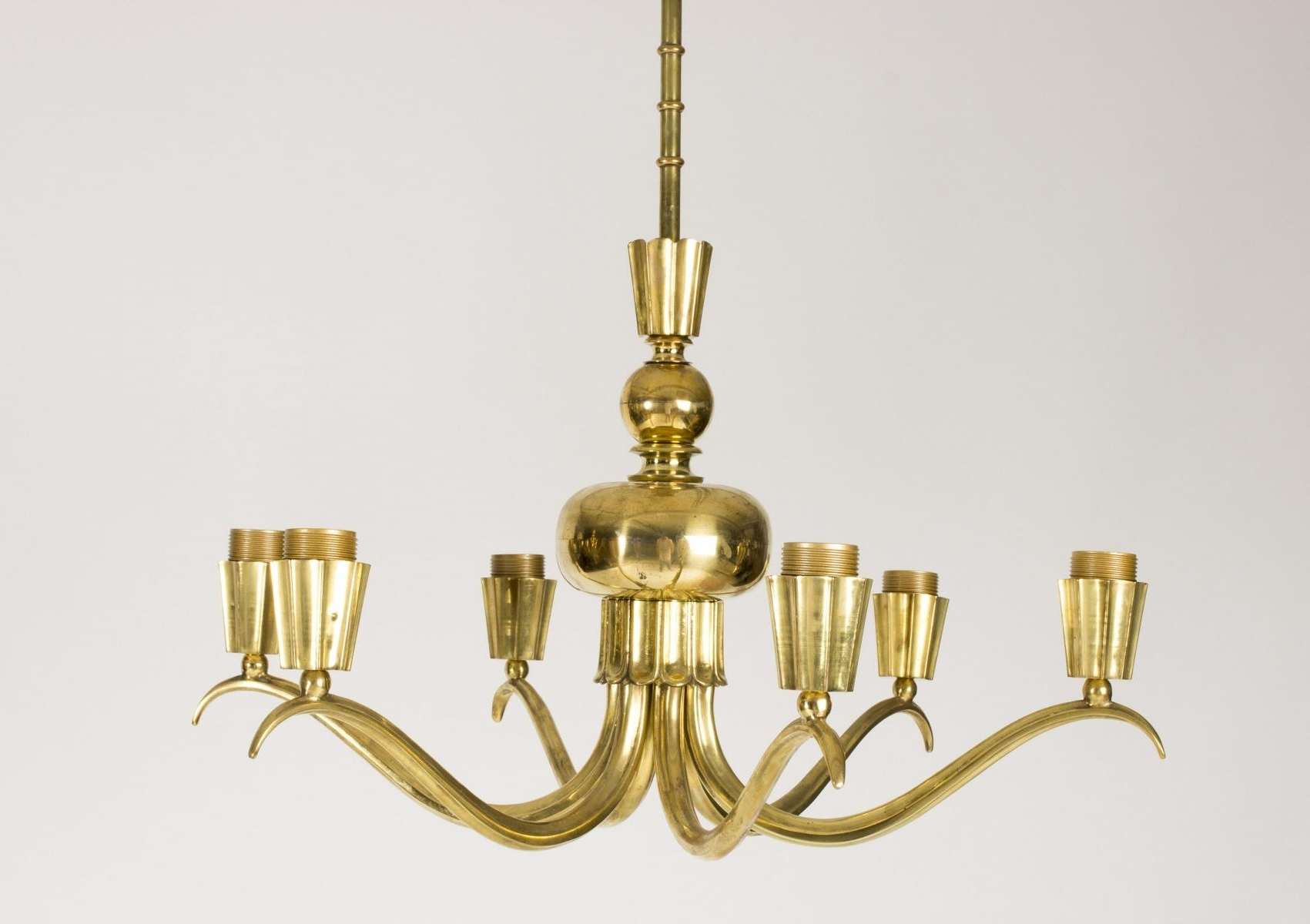 Brass Chandeliers With Regard To Latest Brass Chandeliers, 1940S, Set Of 2 For Sale At Pamono (View 3 of 15)