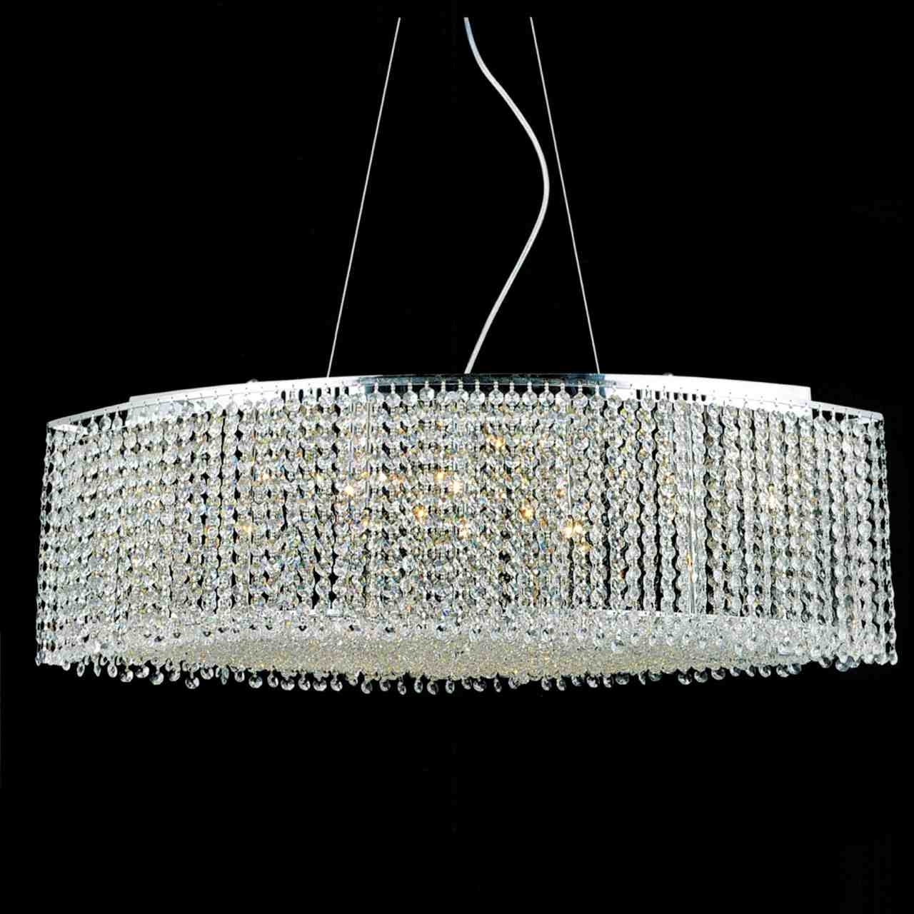 """Brizzo Lighting Stores. 35"""" Rainbow Modern Linear Crystal Chandelier for Newest Crystal And Chrome Chandeliers"""