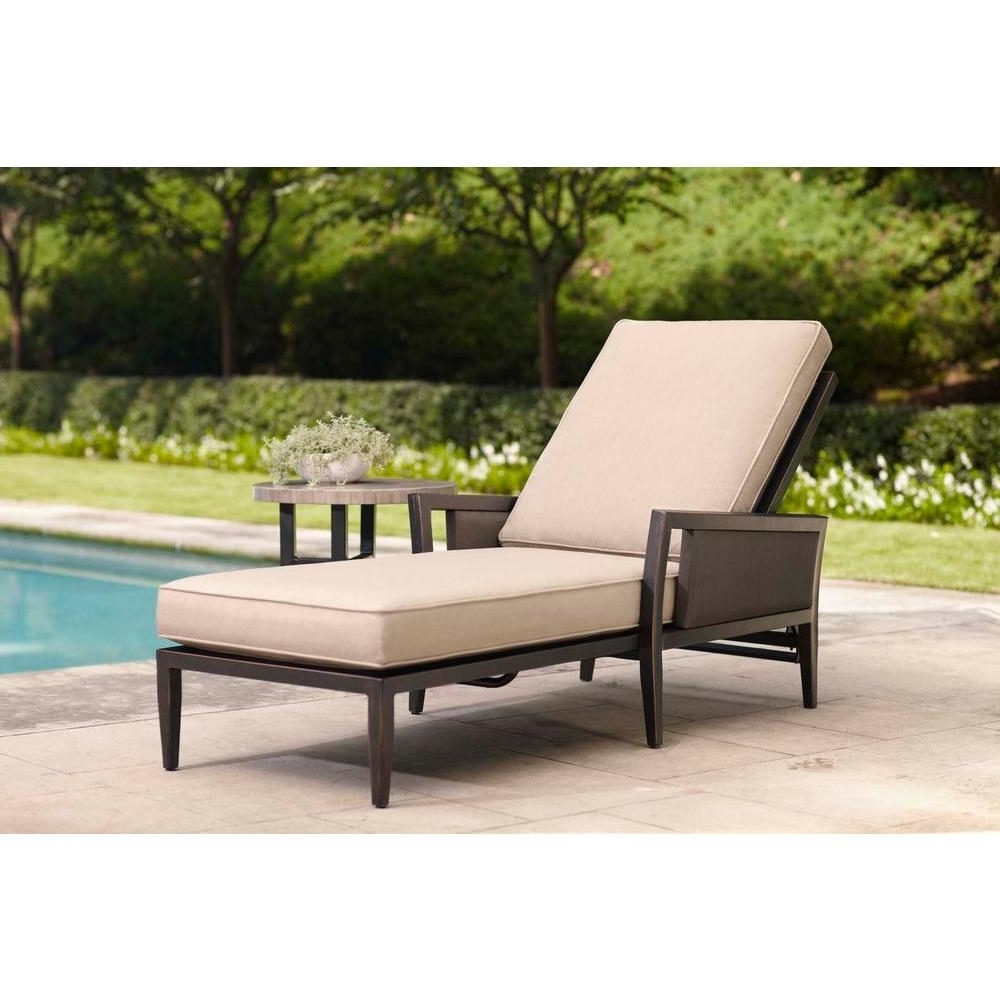 Brown Jordan Greystone Patio Chaise Lounge With Sparrow Cushions Inside 2018 Home Depot Chaise Lounges (View 13 of 15)