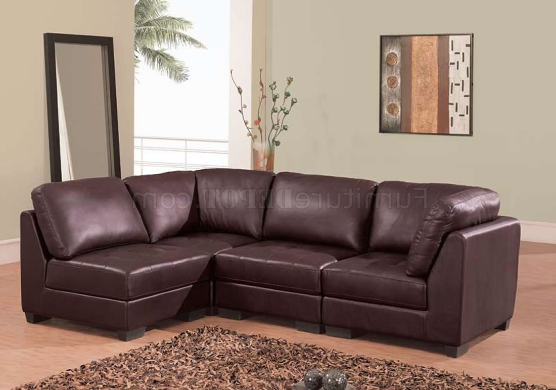 Brown Leather 4 Pc Modern Sectional Sofa W/tufted Seats For Most Recently Released 2 Seat Sectional Sofas (View 4 of 15)
