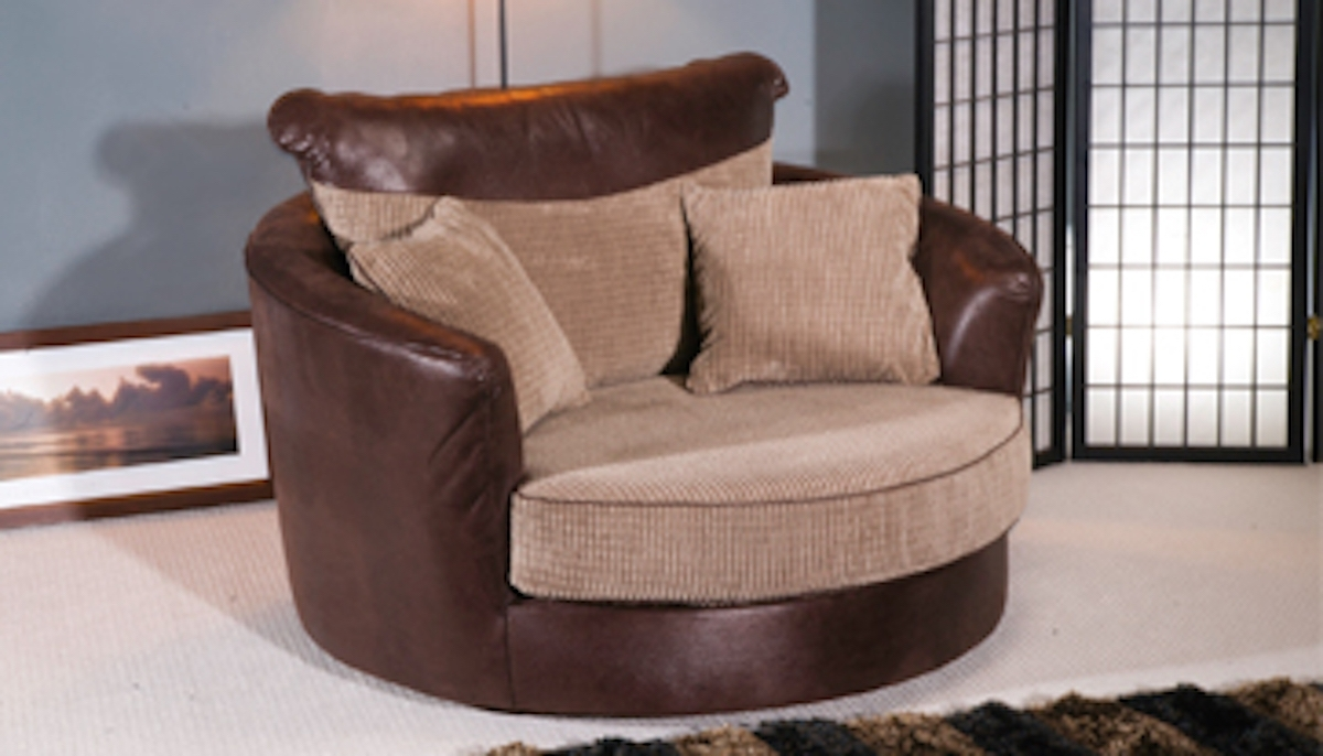 Brown Leather Cuddle Sofa (View 4 of 15)