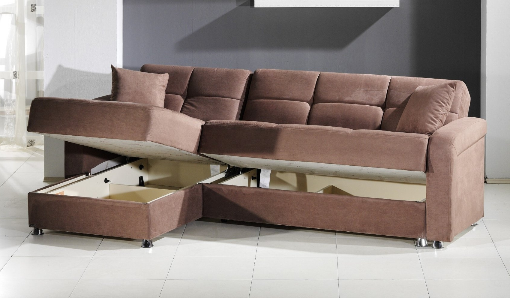 Brown Leather Sectional Sleeper Sofa With Chaise Lounge And With Regarding Most Recently Released Sleeper Sofas With Chaise And Storage (View 13 of 15)