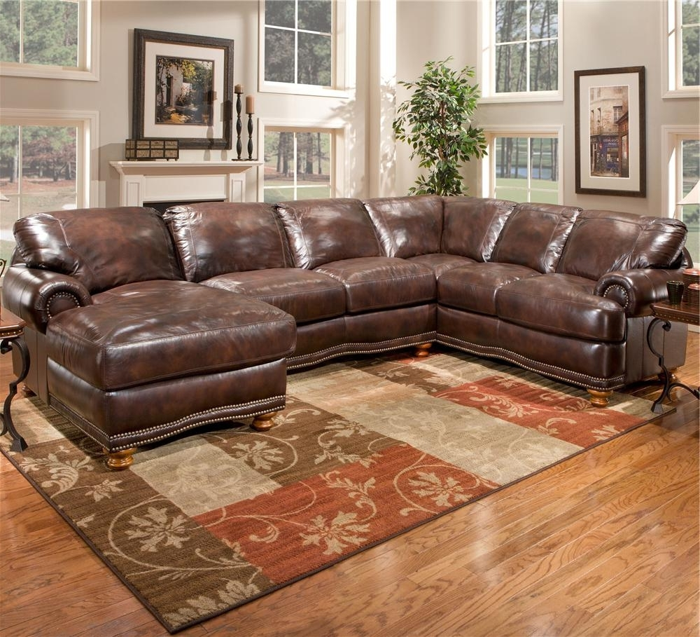 Brown Leather Sectionals With Chaise In Trendy Sofa ~ Luxury Leather Sectional With Chaise Tight Brown Leather (View 1 of 15)