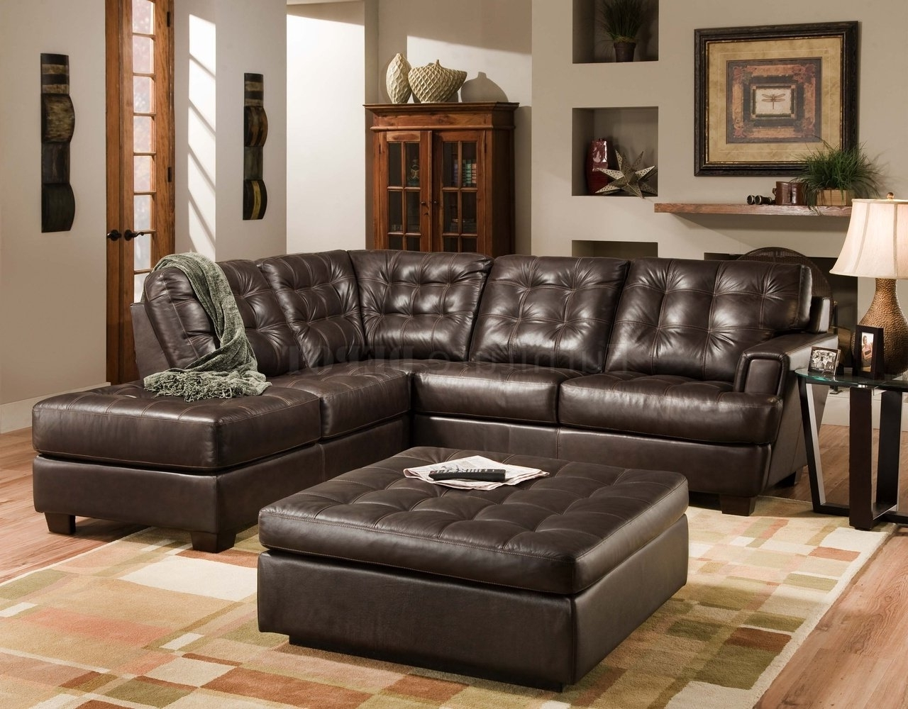 Brown Leather Sectionals With Chaise Pertaining To Favorite Double Chaise Loveseat Leather Loveseat With Chaise Large (View 2 of 15)