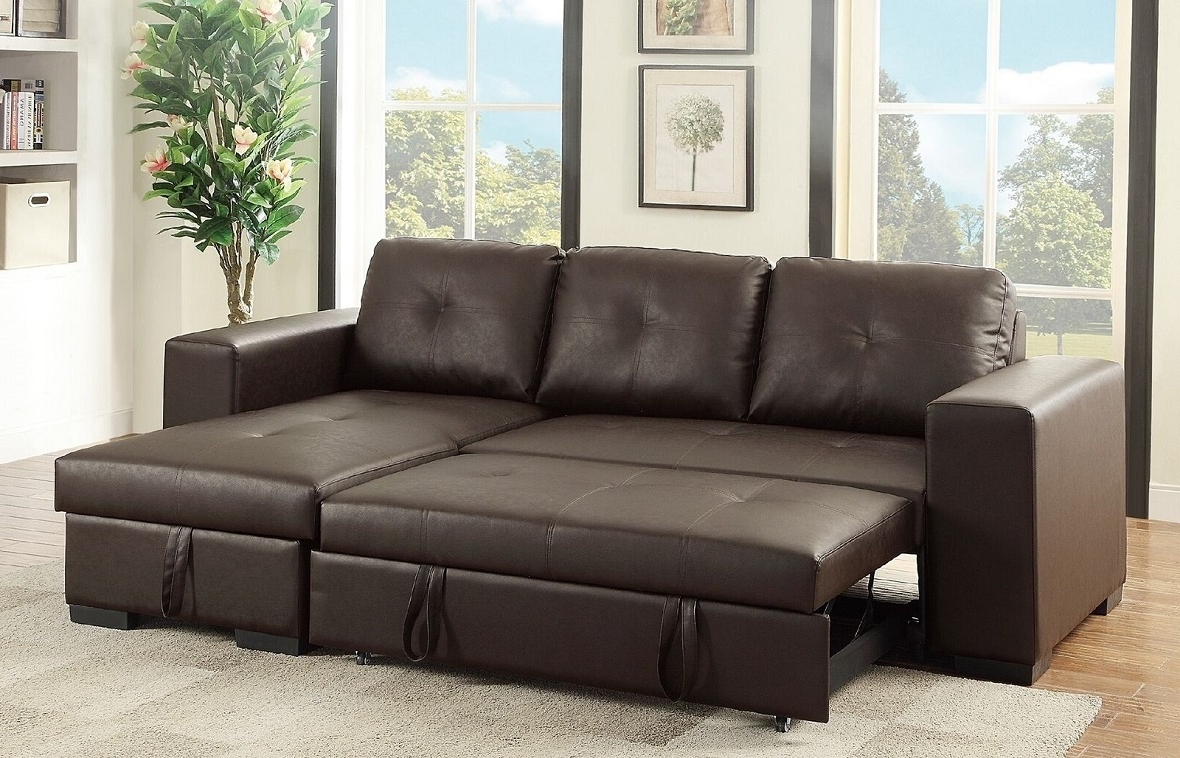 Brown Sectional Sofas Lovely L Shaped Brown Leather Sleeper Sofa With Preferred Leather Sectional Sleeper Sofas With Chaise (View 1 of 15)
